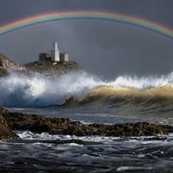 Rainbow over Mumbles lighthouse