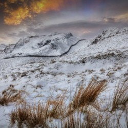 The snow capped beauty of Cribarth mountain