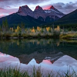 Three Sisters Fall Sunrise Canmore