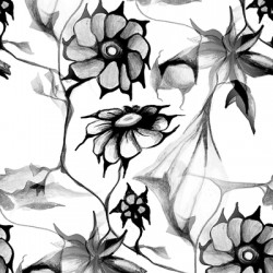 Black and White Perennial Floral Pattern