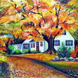 Fall Landscape   Traditional house in USA