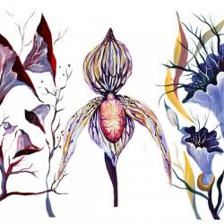 Watercolor Venus Tropical Surrealism Orchids Painting