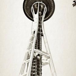 black white seattle space needle art