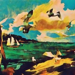 gulls laurence sisson maine art remix