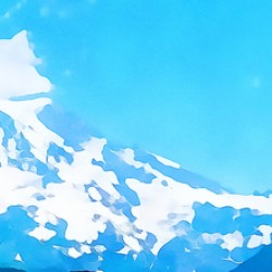 mt ranier art blue sky