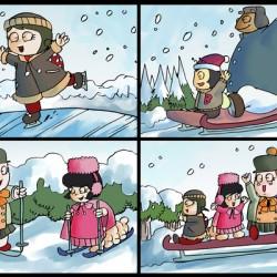 Winter Wonderland Fun   Ice Skating  Sledding and Tobogganing   4 panel Favorites for Kids Room and Nursery   Bugville Critters