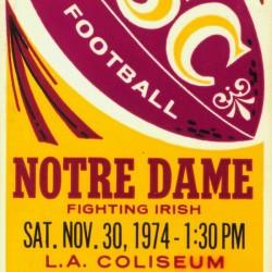 1974 USC vs. Notre Dame Football Ticket Canvas