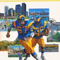 1982 LA Rams Downtown Hollywood Art Poster