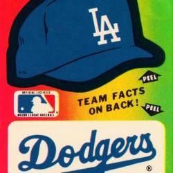 1983 Fleer Sticker LA Dodgers Ballcap Art