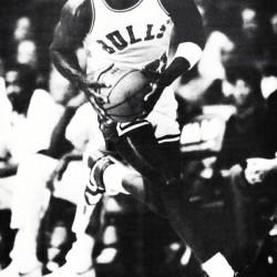 1985 Michael Jordan Black and White Poster