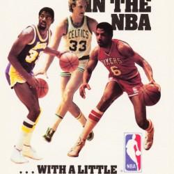 1986 NBA Bird Magic Dr. J Spalding Ad