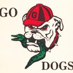 georgia bulldog eating gator retro college sign