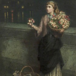 Selling flowers on a bridge in the night time