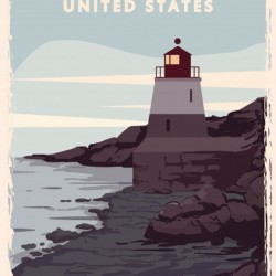 Rhode island retro poster usa rhode island travel illustration united states america