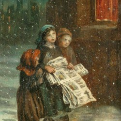 Small children with newspapers