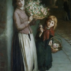 Two girls selling flowers