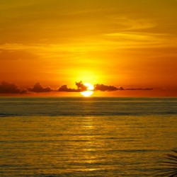 Sun rising on the ocean