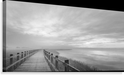 The long wooden footbridge.  Canvas Print