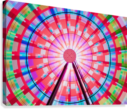 Long exposure photograph showcasing the many color combinations the Big Wheel produces at night; Seattle, Washington, United States of America  Canvas Print