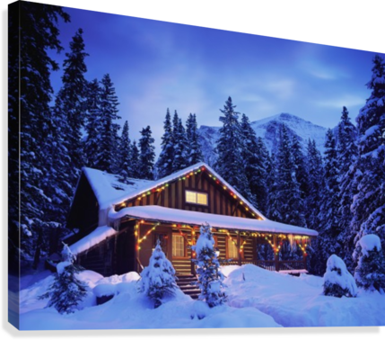 Cabin in the woods illuminated by Christmas lights  Canvas Print