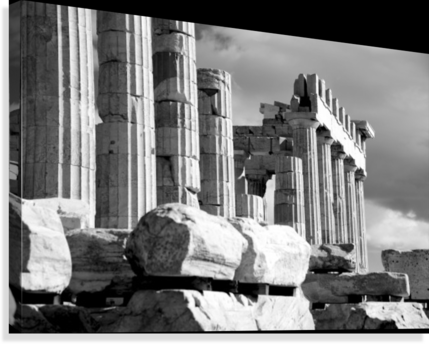 MONO PILES OF STONES BEFORE RUINED PARTHENON; ATHENS, ATTICA, GREECE PACIFICSTOCK  Canvas Print