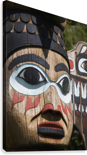 Detail of a figure carved into a Totem Pole, Totem Bight State Historical Park, Ketchikan, Southeast Alaska, USA, Spring  Canvas Print