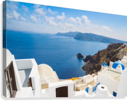 Santorini Island, Greece, Beautiful View of Blue Ocean and Traditional Dome Church Architecture  Canvas Print