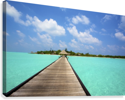 Jetty with cabana over crystal clear turquoise sea, Maldives  Canvas Print