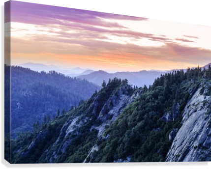 View from Moro Rock at dusk, Sequoia National Park; California, United States of America  Canvas Print