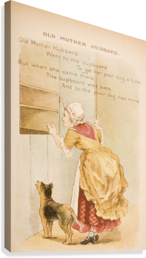 Old Mother Hubbard from Old Mother Goose's Rhymes and Tales  Illustration by Constance Haslewood  Published by Frederick Warne & Co London and New York circa 1890s  Chromolithography by Emrik & Binger of Holland  Canvas Print