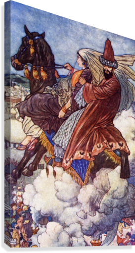 The Story of the Enchanted Horse. Illustration by Charles Folkard from the book The Arabian Nights published 1917  Canvas Print