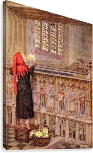 Coloured illustration by Eleanor Fortescue Brickdale illustrating the poem Death the Leveller by Shirley. From the book Palgrave's Golden Treasury of Songs and Lyrics published 1919.  Canvas Print