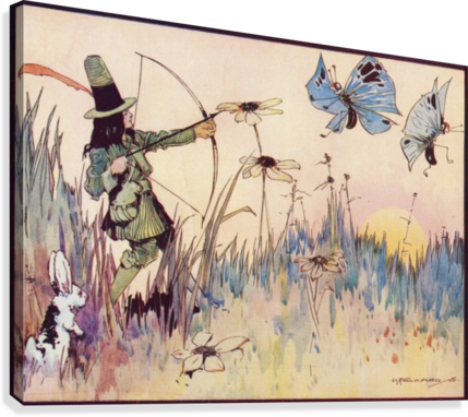Big Game Hunting in Fairyland. From the illustration by H Folkard from the book Princess Marie-José's Children's Book published 1916.  Canvas Print
