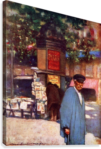 The Kiosk on the Boulevard, Paris. Colour illustration from the book France by Gordon Home published 1918  Canvas Print