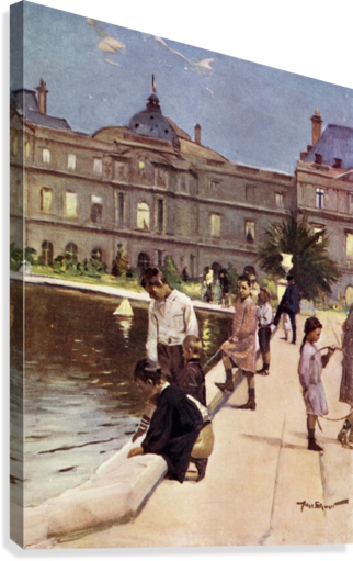 Children of Paris in The Luxemburg Gardens, Paris, France. Colour illustration from the book France by Gordon Home published 1918  Canvas Print