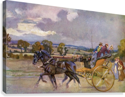 Regency Bucks in their Curricle on the road to Brighton, England.  From The Illustrated London News, Christmas Number, 1933.  Canvas Print