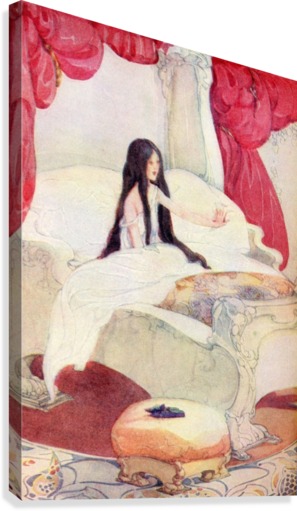 The House in the Wood, illustration from The Golden Wonder Book published 1934.  The bed was of ivory, and the curtains of red velvet, and on a stool close by was placed a pair of slippers ornamented with pearls.  Canvas Print
