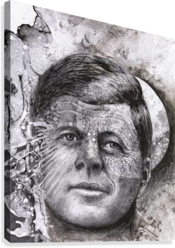 Black and white illustration of a man's face with a full moon overlapping his face  Canvas Print