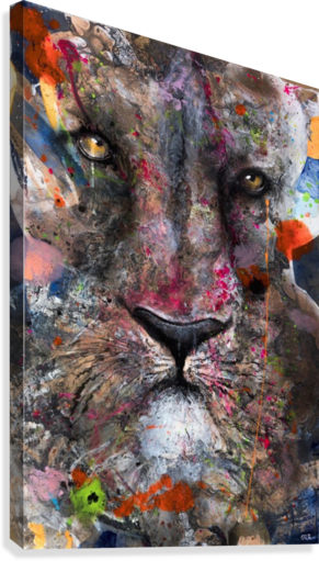 Illustration of a lion's face with colourful splashes  Canvas Print