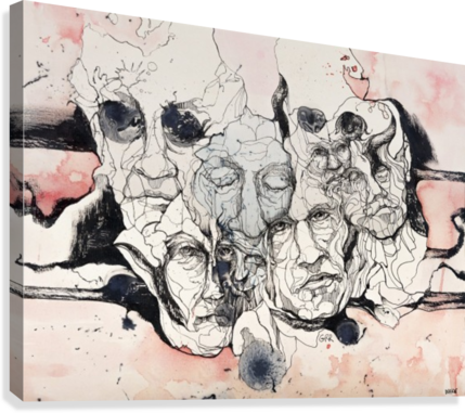 Illustration of male faces overlapping  Canvas Print