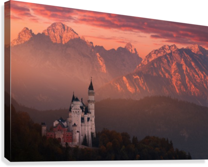 Red morning above the castle  Canvas Print