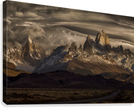 Striped sky over the Patagonia spikes  Canvas Print