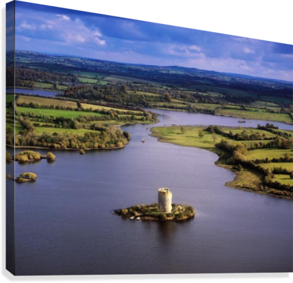 Cloughoughter Castle, Co Cavan, Ireland; Aerial View Of Lough Oughter And 13Th Century Castle Built On The Possible Site Of A Crannog  Canvas Print