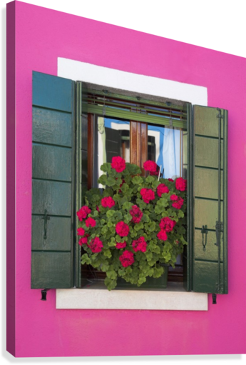 Pink Wall And Green Shutters, Burano, Italy  Canvas Print