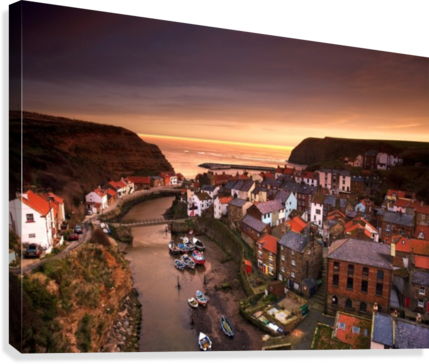 Cityscape At Sunset, Staithes, Yorkshire, England  Canvas Print