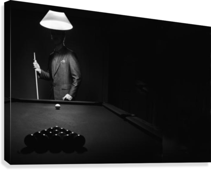 ; Mystery Pool Player Behind Rack Of Billiard Balls  Impression sur toile