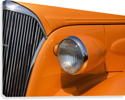 Orange Painted Vintage Car's Headlight And Front Grill; Port Colborne, Ontario, Canada  Canvas Print