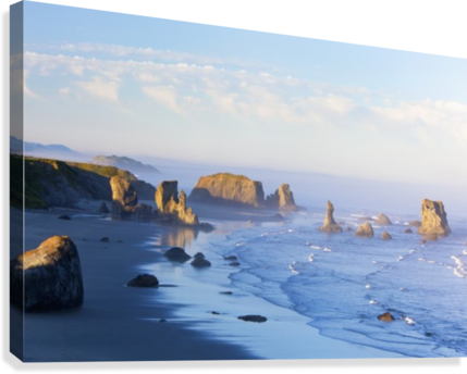 Morning Light Adds Beauty To Fog Covered Rock Formations At Bandon State Park; Bandon, Oregon, United States of America  Canvas Print