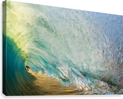 Hawaii, Maui, Makena Beach, View Of Distant Surfers Through Barrel Of Turquoise Wave, Sunset Light.  Canvas Print