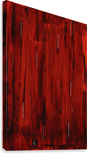 Rain, Abstract Painting In Red And Black (Acrylic Painting).  Canvas Print